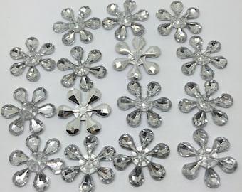 25 x 22mm Christmas Shinny Snowflake Flower Flatback Embellishments