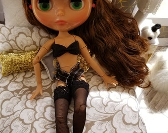 Bra and Panty Set, Thigh High Tights for Neo Blythe Doll, Azone