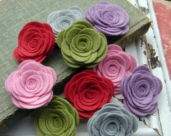 Wool Felt Flowers - Large Posies - Cupcake Icing Collection - The Original Wool Felt Posies
