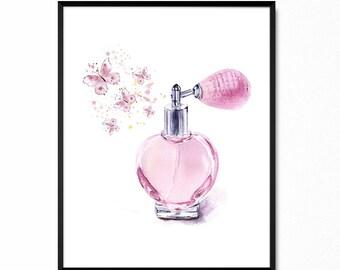 Perfume print - Vintage perfume bottle spraying butterflies - Pink perfume print - Hand drawn vintage printable decor - Instant Download