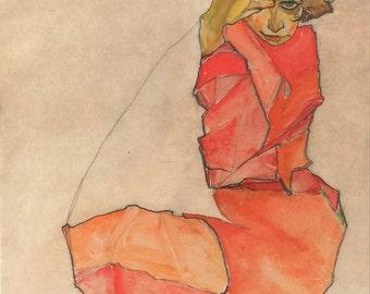Egon Schiele: Kneeling Female in Orange-Red Dress. Fine Art Print/Poster. (003685)