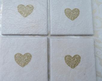Ceramic decoupaged gold heart coasters