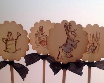 Cupcake Toppers Picks Peter Rabbit-set of 12