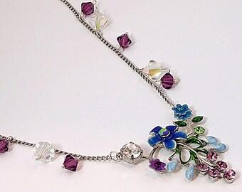 Handmade Enamel Floral Pendant Necklace April Remembered