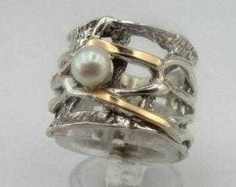 Jewela 9K Yellow Gold 925 Sterling Silver Pearl Ring size 8, White Pearl ring, Wedding Band, Yellow Gold Ring, birthday, Gift  (s r1728a)