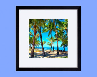 framed matted paper print, wall art, wall decor, art print, home decor, ready to hang, tropical, palm trees, turquoise, beach, maui, hawaii