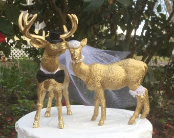 Deer Wedding Cake Topper, Larger Buck and Doe Cake Topper, Gold Deer Cake Topper,Hunting-Woodland-Forest Animal-