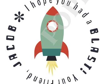 Space Rocket Round Personalized Name Gift Sticker- Set of 20- Rocket Treat Bag Sticker