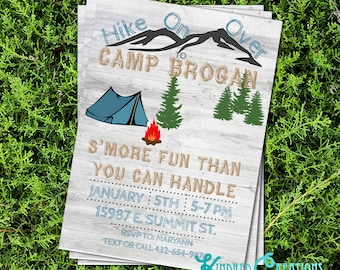 Camping Party Invitation - Instantly Downloadable and Editable File Personalize with Adobe Reader