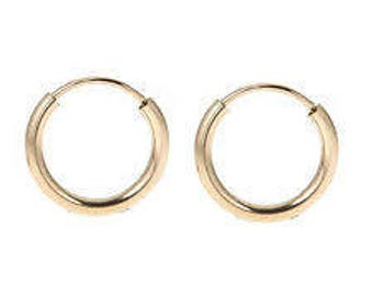 Gold Filled 14K Endless Hoop Earrings 12mm Size