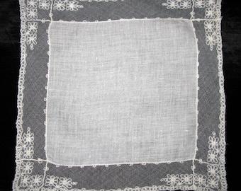 Something Old Wedding, Tambour Lace Handkerchief, Antique Hankie off white cream Hankerchief