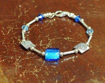 Carribean Blue Quartz Sterling Silver Bracelet, Sea Blue Jewelry, Stacking Bracelet, Boho Chic Jewelry, Rustic Boho Sterling Silver Bracelet