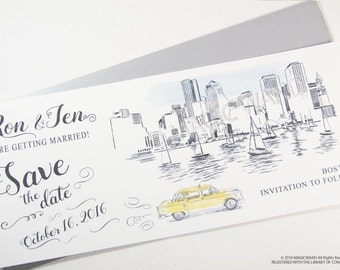 Boston Skyline Whimsical Save the Date Cards , Taxi Watercolor, Wedding (set of 25 cards)