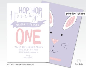 bunny birthday invitation, some bunny birthday, easter birthday invitation, hop hop hooray, easter egg hunt invitation, bunny brunch invite
