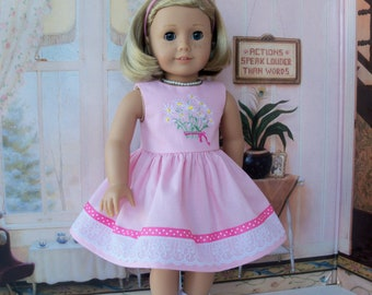 Like American Girl Doll Clothes / Kit's Embroidered Spring Dress and Shoes /   18 Inch Doll Clothes