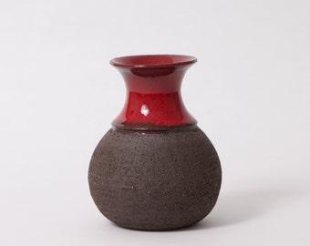 Vase by Lehmann, denmark, stamped, vintage, red, brown, 60s