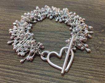 Sterling silver bracelet, handmade bracelet, stem bracelet, toggle bracelet, chunky bracelet, unique