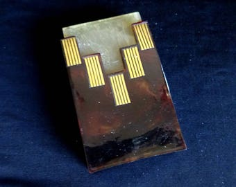 Vintage Vesta Match Case, Antique Holder, Faux Tortoise Shell, , Art Deco, French 1920's Tobacciana Box Gold Leaf Birthday Gift Anniversary