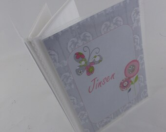Girl Photo Album, Personalized Photo Album, Girl Baby photo Album , Pink and Gray Floral , 4x6 or 5x7 , baby shower Gift 232