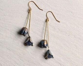 Bluebell Earrings ... Vintage Brass Blue Cornflower Gold Flower Bud