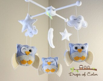 Baby Crib Mobile, Baby Mobile, Owl Mobile, Nursery Baby Decor, Neutral Ceiling Mobile, Baby Owls Stars Clouds Felt Oranments, Forest Gift