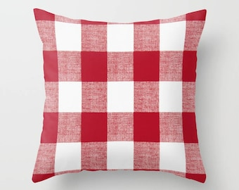 Red Pillow Cover Decorative Pillows Throw Pillows Buffalo Plaid Pillow 8 Sizes Available
