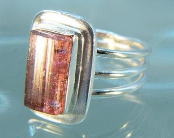 Rubellite Tourmaline Silver Ring Size US 8 SR510
