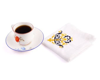 Organic cotton napkins Set of 4 table napkins cloth Embroidery organic cotton Linens Dinner Napkins Best Selling Item