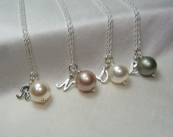 Bridesmaid Jewelry Set of 9 Personalized Bridesmaids Gifts Initial Necklace Pearl Bridesmaid Necklace Bridal Party Jewelry Wedding Jewelry