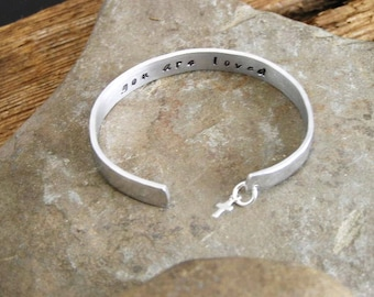 Hand Stamped Cuff Bracelet Secret Message for Little Girl with Christian Cross You Are Loved