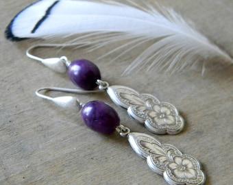 Purple earrings southwestern jewelry southwest earrings deep purple cowgirl jewelry bohemian earrings boho