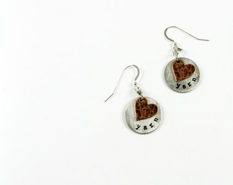 Yarn Love Earrings for Knitting Jewelry - Mixed Metal Stamped Earrings with Heart - Crafter Gift
