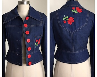 70s Gimbel's Cropped Denim Jacket with Embroidered Roses, Size XS to Small