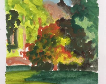 Tricolor Hartriegel, Oktober 2017, ORIGINAL Eitempera auf festem Papier Landschaftsmalerei von Shirley Kanyon, 7.3x7.3 Zoll, 18.5x18.5 cm