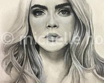 Custom Portrait (Mixed Media) - Cara Delevingne