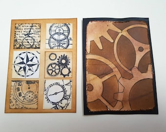 ACEO steampunk cogs art card set, inchies, hand stamped and inked, ATC original, vintage style