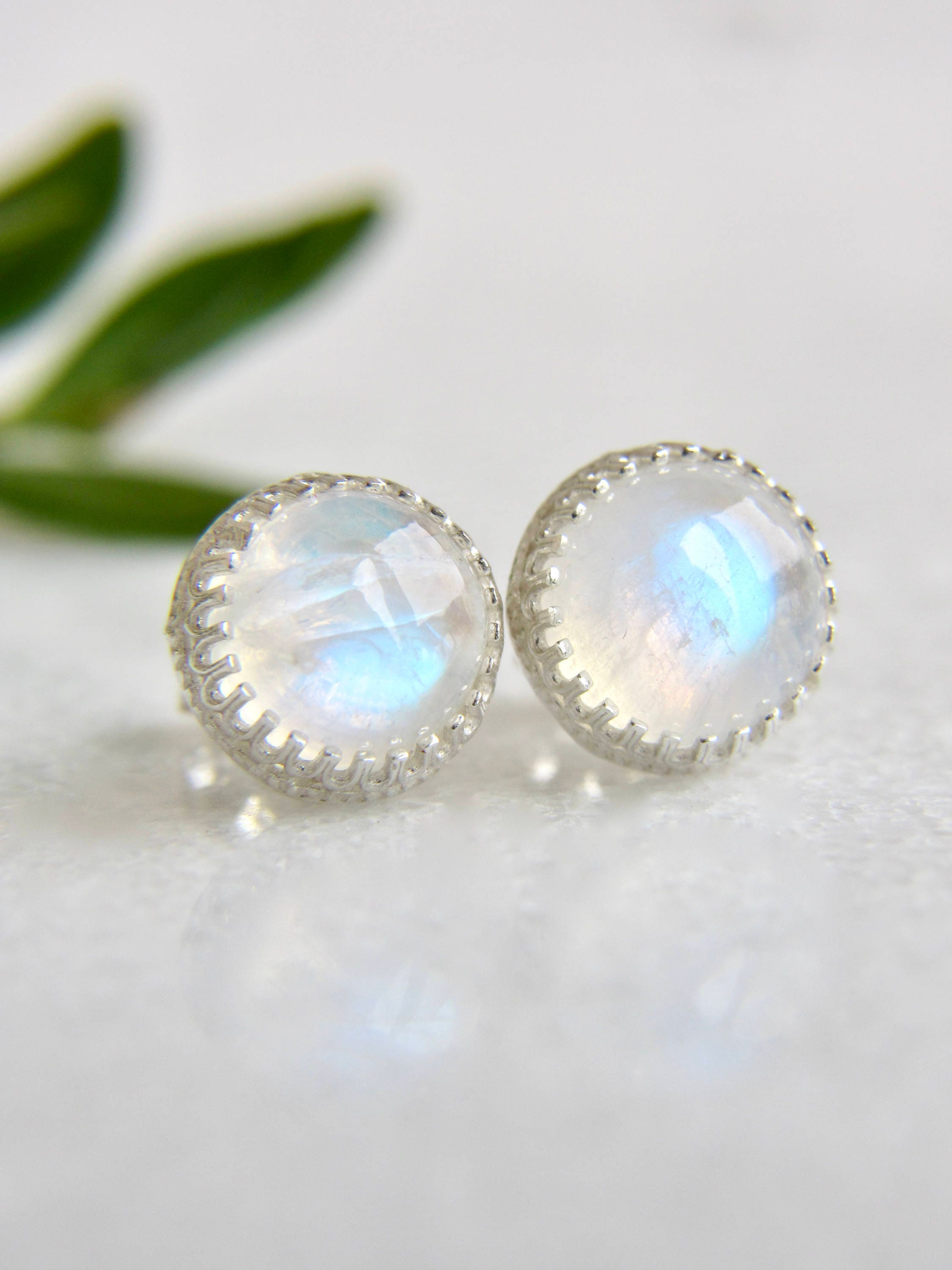 genuine rainbow moonstone 8mm smooth round sterling silver