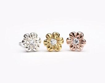Spring Flower Stud Earrings, Sterling Silver Gold Plated, White Zirconia, Dainty Gemstone Studs, Handmade, Graduation Gift, Lunai STD072WCZ