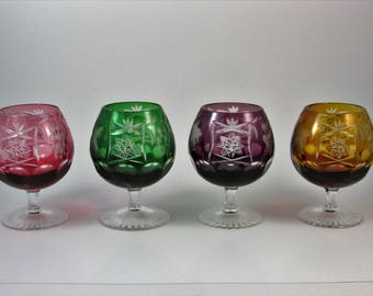 Vintage Bohemian Czech Brandy Snifters Set of Four Cranberry Emerald Amethyst and Amber Cut to Clear Elegant Entertaining Vintage Barware