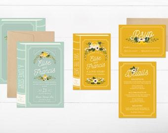 book wedding invitation suite, printable wedding invitation, fairytale wedding invitation set, diy floral wedding invite, digital
