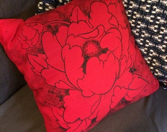Hand painted red peony cushion cover