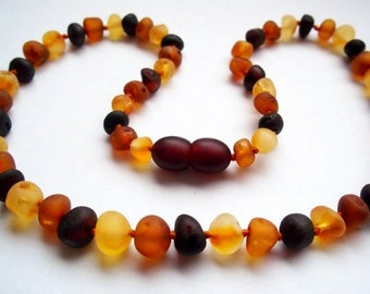 Natural RAW Unpolished Baltic Amber Baby Teething Necklace * Safety Knotted * Multicolored Baroque