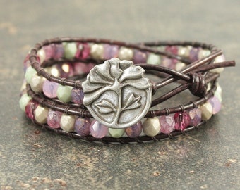 Pink Peony Bracelet Off White Green Pink Lavender Silver Peony Jewelry Shabby Boho Chic Double Leather Wrap Bracelet Flower Jewelry