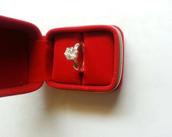 Silver Engagement Ring with a Zircon stone