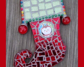 Mosaic Christmas Stocking Ornament with Penguin