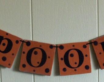 Spooky Banner Halloween Orange Wood Garland Holiday Decoration 4 x 4 Tiles Custom