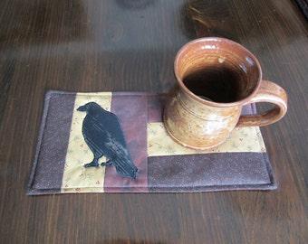 PRIMITIVE - CROW - Applique Quilted Mug Rug PDF E-Pattern