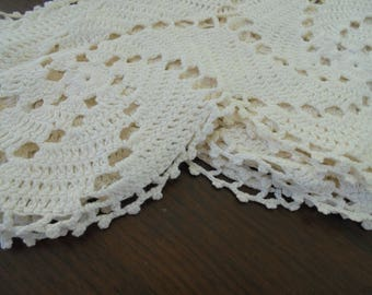 """set of 6 Vintage 17"""" long Crocheted Doilies from 1940s GORGEOUS"""
