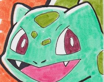 "Pokemon Bulbasaur artist trading card ACEO 2 1/2"" x 3 1/2"""