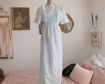 1970's Katia light blue long floral dress